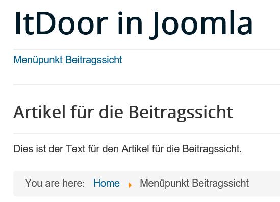 Titel des Artikels auf der Joomla Website