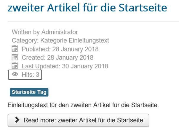 Joomla Website Anzahl der Aufrufe eines Artikels