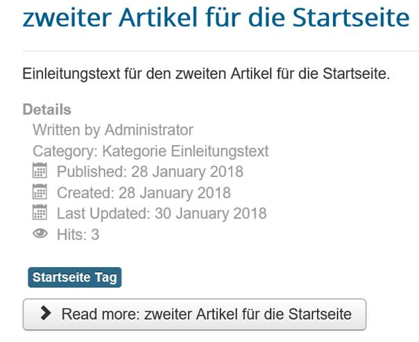 Joomla Website Beitragsinfo unter dem Einleitungstext