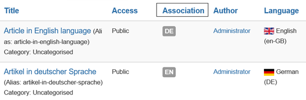 """Joomla Artikelübersicht mit neuer Spalte """"Association"""""""
