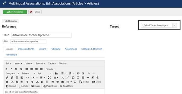 Zielsprache für Joomla ein Artikel in 2 verschiedenen Sprachen bearbeiten aussuchen