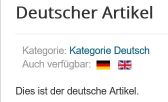 Joomla Website Deutscher Artikel für Sprachwechsel