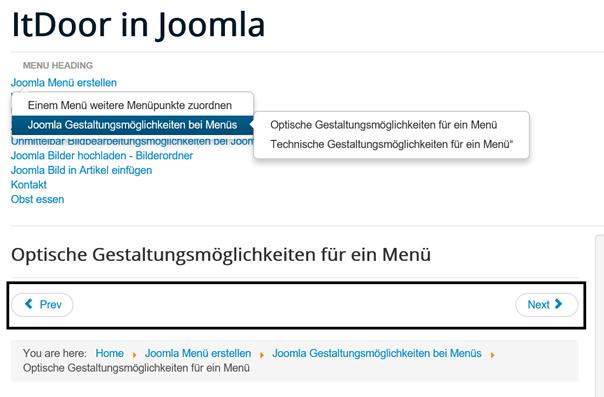 Joomla Ein Menü mit 3 Ebenen