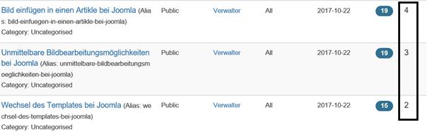 Joomla Artikelübersicht 3 Artikel und deren ID's