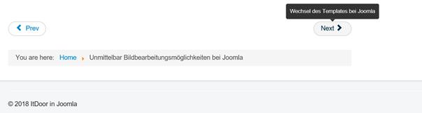Zwischen Joomla Artikeln navigieren Next