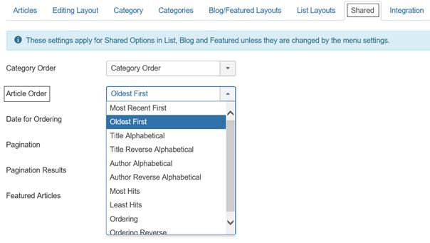 Joomla Registerkarte Shared Reihenfolge der Artikel ändern