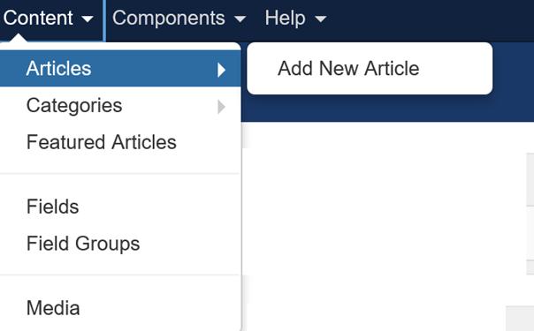 Joomla Content Menu Die Menüpunkte der Benutzergruppe Manager