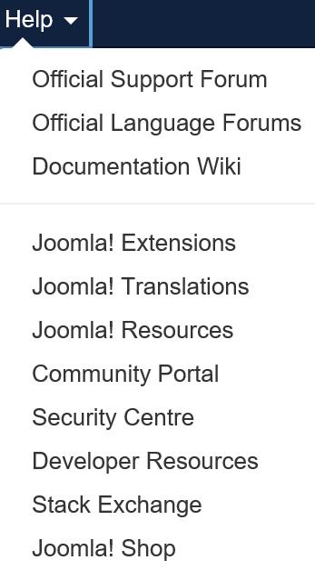 Joomla Hilfe Menü für Benutzergruppe Manager
