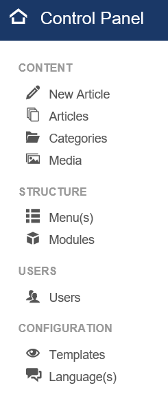 Joomla Control Panel linke Seite Menüpunke Benutzergruppe Administrator