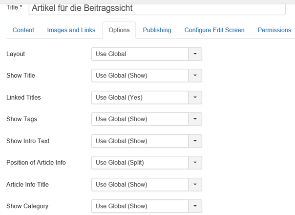 Artikel Einstellungen Use Global nach Joomla Installation