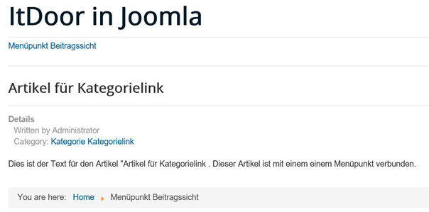 Joomla Website mit Category und Category Link beim Article