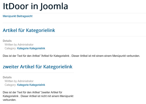 Joomla Website 2 Artikel mit der gleichen Kategorie