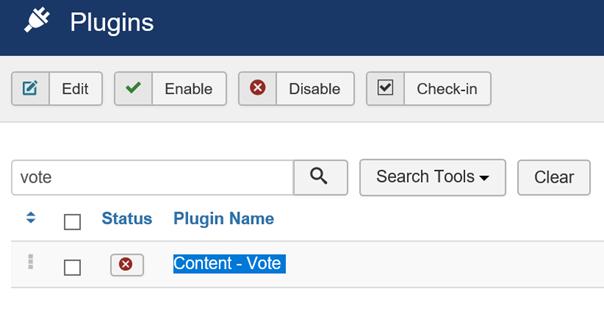 Joomla Plugin Content-Vote ist im Standard deaktiviert