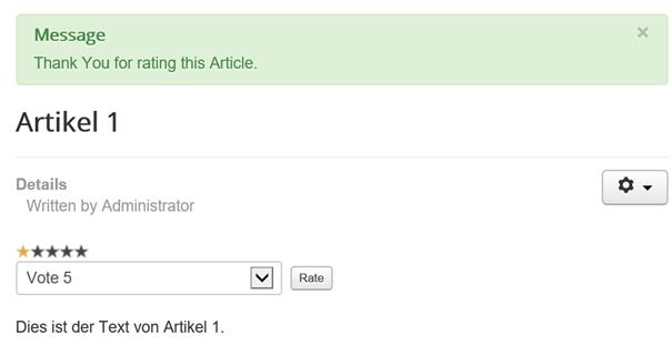 Joomla Website Bewertung für Artikel wurde durchgeführt