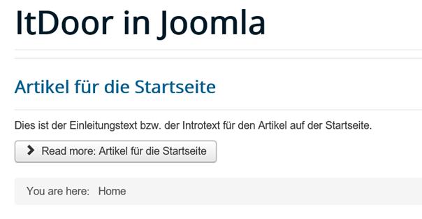 Joomla Website Artikel mit Einleitungstext und Read more Button