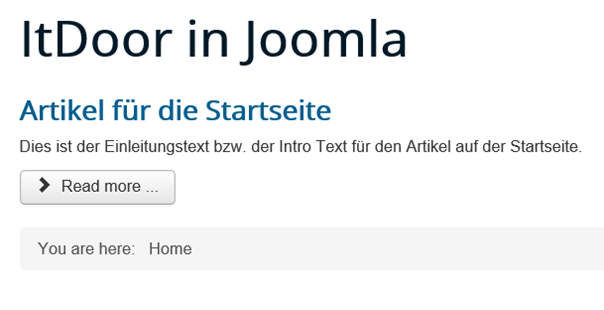Joomla Website Read More Show Title ist auf Hide gesetzt