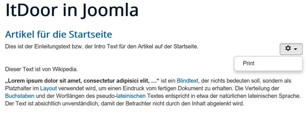 """Joomla Website """"Show"""" bei Show Print"""" und """"Show Icons"""" ist """"Hide"""""""