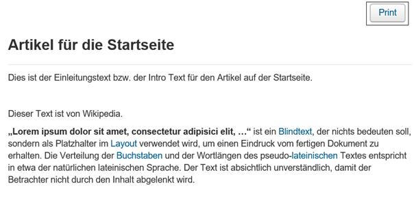 Joomla Website Artikel mit Druckvorschau