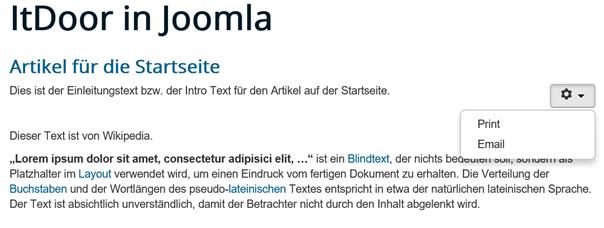 """Joomla Website Show"""" bei Show E-Mail"""" und """"Hide"""" bei """"Show Icons"""""""