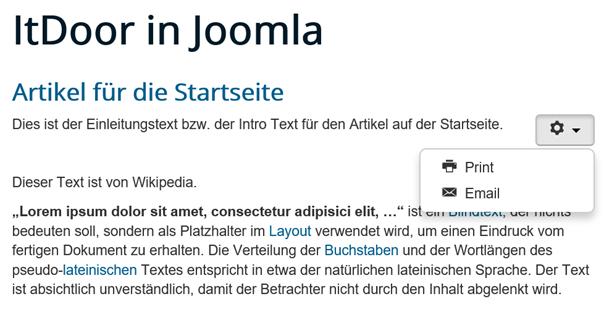 Joomla Website mit Icons für Print und Email
