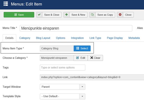 Joomla Menüpunkt mit Menu Item Type Category Blog Anzahl der Menüpunkte für Beiträge