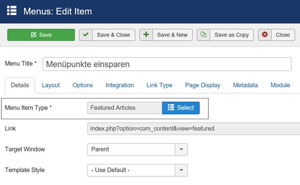 Joomla Menüpunkt mit Menu Item Type Featured Articles Anzahl der Menüpunkte für Beiträge