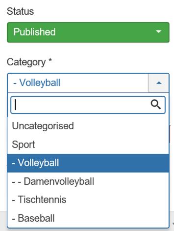 Joomla Auswahl der Kategorien im Artikel