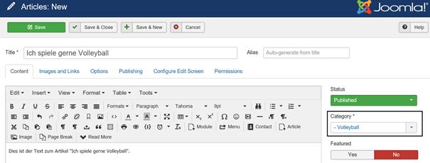 Joomla Zuordnung eines Artikels zu einer Kategorie