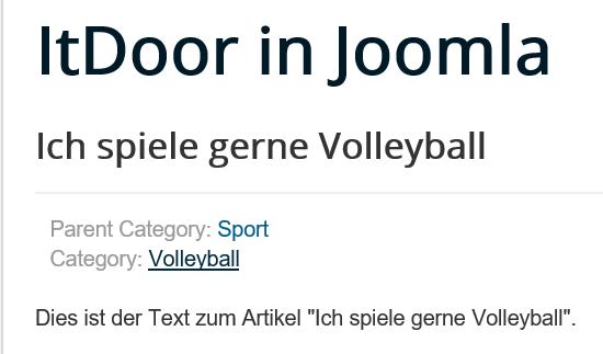 Joomla Website Ein Artikel mit seiner Kategorie