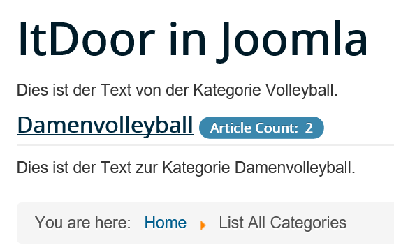 Joomla Website List All Categories mir Unterkategorie Volleyball