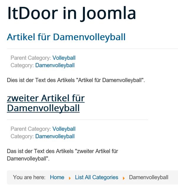 Joomla Website Artikel der Unterkategorie Damenvolleyball