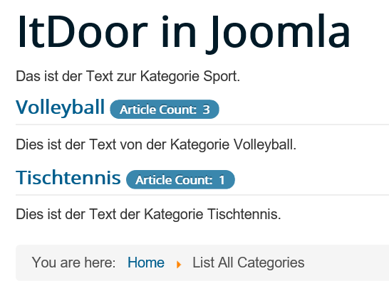 Joomla Website List All Categories mit Oberkategorie Sport