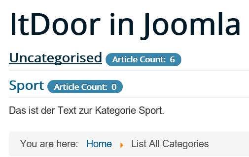 Joomla Website List All Categories mit Kategorie Uncategorised