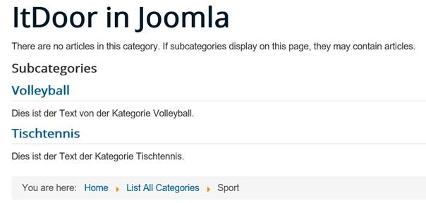 Joomla Website mit den Unterkategorien der Oberkategorie Sport