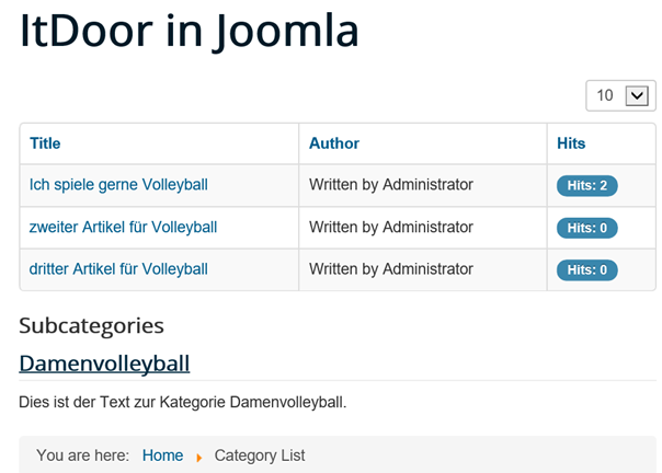 Joomla Website mit Category List