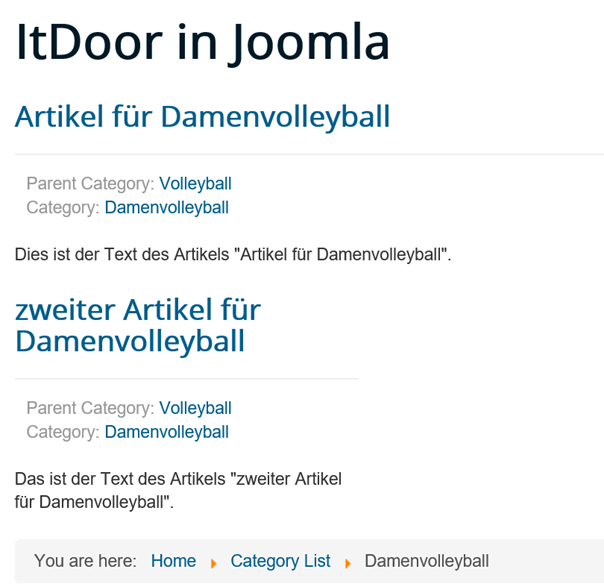 Joomla Website Unterkategorie Damenvolleyball bei Category List