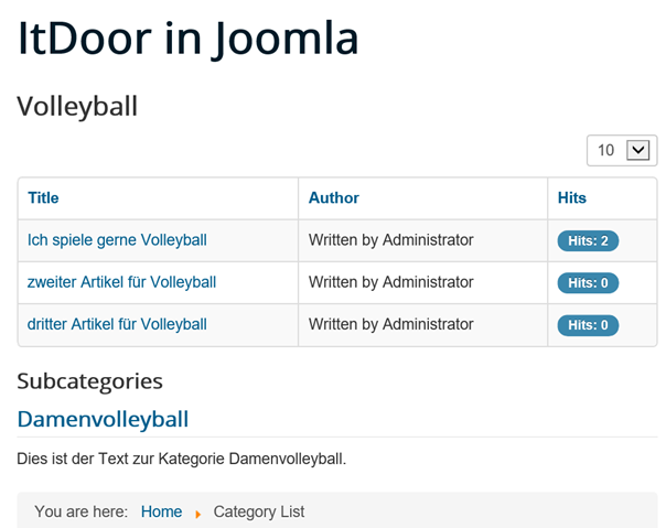 Joomla Website Category List mit Category Title