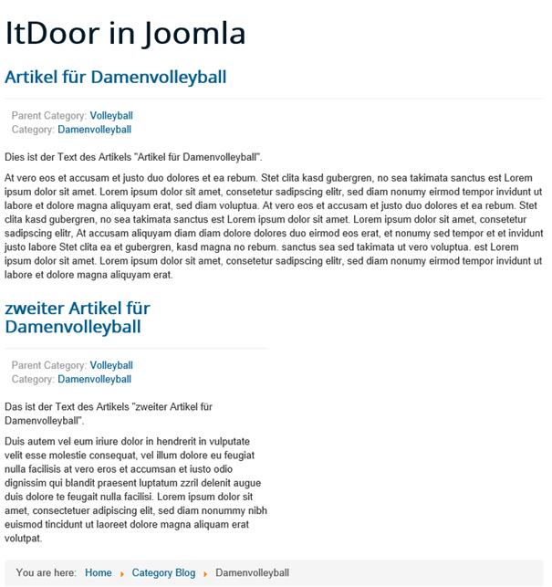 Joomla Website Category Blog nach Klick auf Unterkategorie