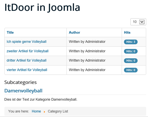 Joomla Liste Category List mit Standardeinstellungen