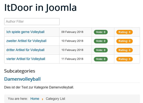Joomla Category List mit anderen Listeneinstellungen