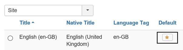 Joomla Auswahl der englischen Sprache für die Joomla Website