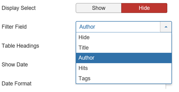 Joomla List Filter Field Die Auswahlmöglichkeiten