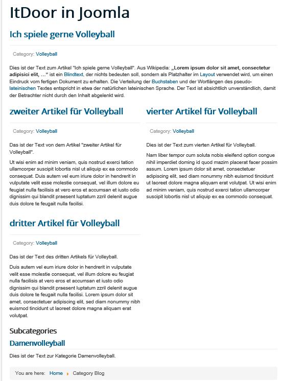 Joomla Category Blog keine Veränderungen durch Listeneinstellungen