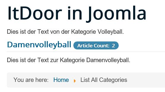 Joomla List All Categories keine Veränderungen durch Listeneinstellungen