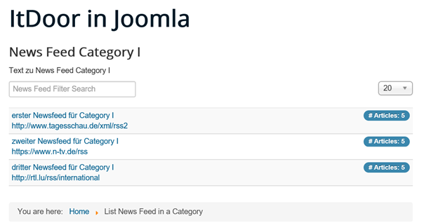 Joomla Liste List News Feed in a Category