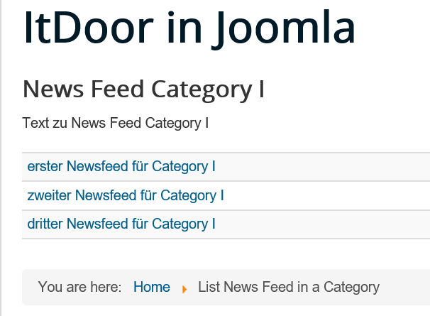 Joomla Liste List News Feed in a Category mit anderen Listeneinstellungen
