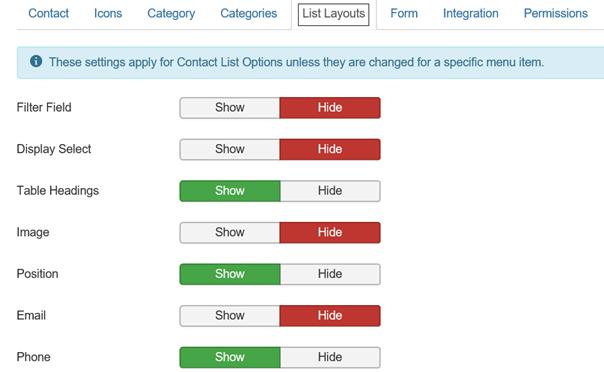 Joomla Contacts List Layouts I