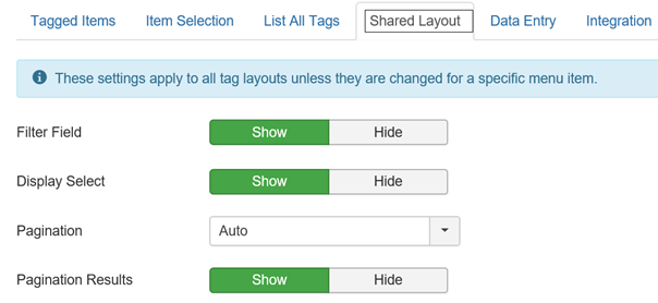 Joomla globale Listeneinstellungen für Tags