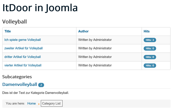 Joomla Website nach Klick auf Unterkategorie in List All Categories