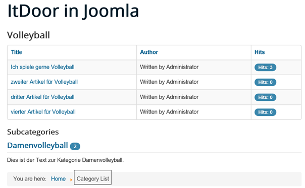Joomla Website Aufruf Category List